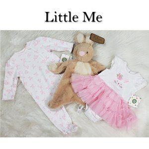 3 Pc Little Me Sleeper Dress Bunny NWT